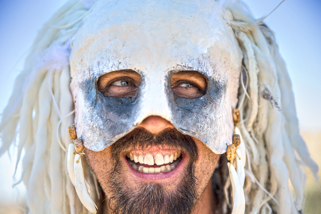 Aveloc, a champion gladiator, watches a jugger match during the seventh annual Wasteland Weekend on Saturday, Sept. 24, 2016, in California City, Calif. The four day, post-apocalyptic festival tak ...