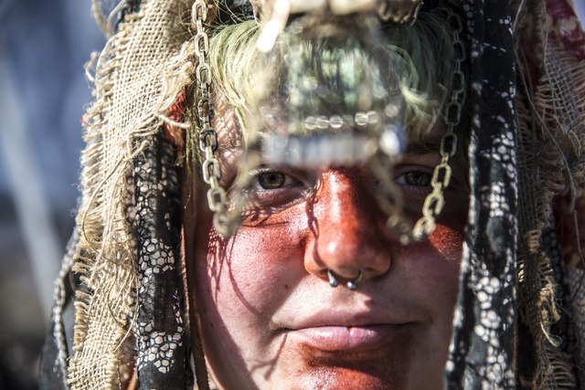 Tato Potato poses for a photo during the seventh annual Wasteland Weekend on Saturday, Sept. 24, 2016, in California City, Calif. The four day, post-apocalyptic festival takes place in the Mojave  ...