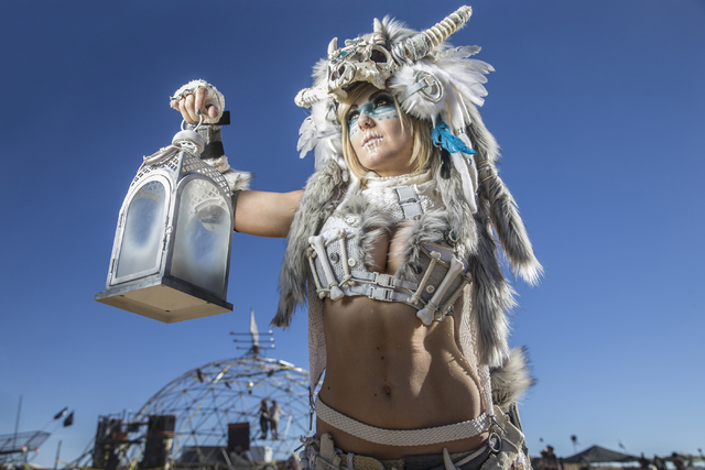 Jessica Nigri poses for a photo during the seventh annual Wasteland Weekend on Saturday, Sept. 24, 2016, in California City, Calif. The four day, post-apocalyptic festival takes place in the Mojav ...