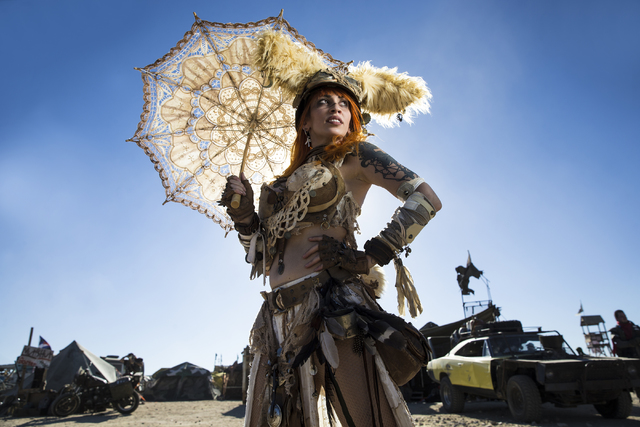 Vivid Vivka, known as Dust Bunny, poses for a photo during the seventh annual Wasteland Weekend on Saturday, Sept. 24, 2016, in California City, Calif. The four day, post-apocalyptic festival take ...