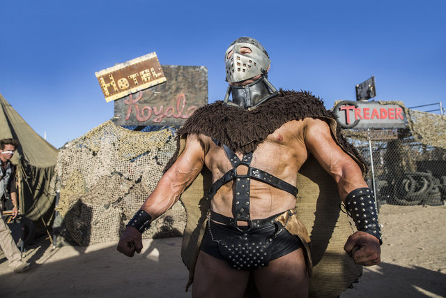 Humungus poses for a photo during the seventh annual Wasteland Weekend on Saturday, Sept. 24, 2016, in California City, Calif. The four day, post-apocalyptic festival takes place in the Mojave des ...