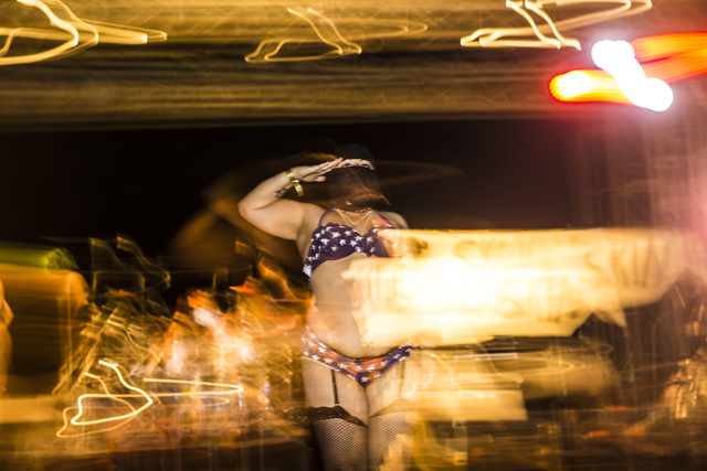 The Nuclear Bombshells, a post-apocalyptic burlesque group based in Las Vegas, perform during the seventh annual Wasteland Weekend on Saturday, Sept. 24, 2016, in California City, Calif. The four  ...