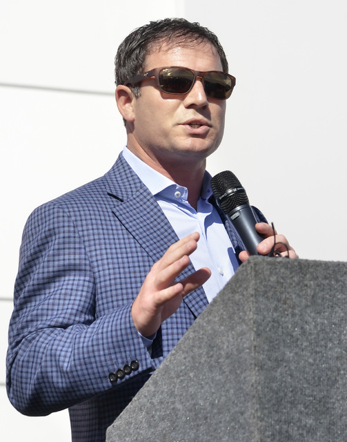 Geoff Freeman, president and CEO of the American Gaming Association, speaks during grand opening ceremonies for the new North American headquarters of Ainsworth Game Technology at 5800 Rafael Rive ...