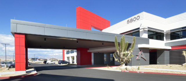 The exterior of the new North American headquarters for Ainsworth Game Technology is shown at 5800 Rafael Rivera Way in Las Vegas on Friday, Sept. 30, 2016. Bill Hughes/Las Vegas Review-Journal