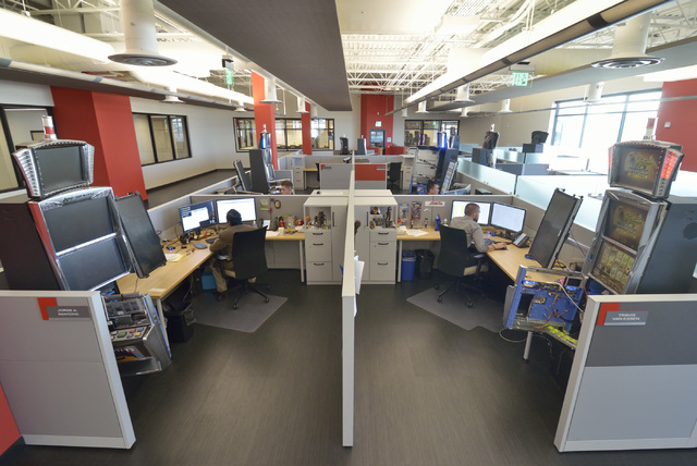 Part of the Technical Compliance department is shown in the new North American headquarters of Ainsworth Game Technology at 5800 Rafael Rivera Way in Las Vegas on Friday, Sept. 30, 2016. Bill Hugh ...