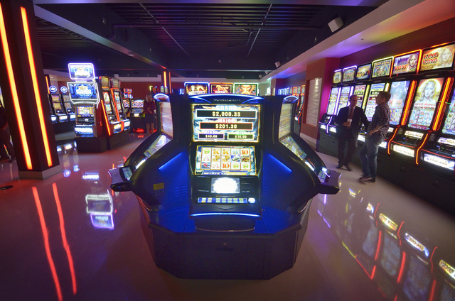 Part of the showroom is shown during grand opening ceremonies for the new North American headquarters of Ainsworth Game Technology at 5800 Rafael Rivera Way in Las Vegas on Friday, Sept. 30, 2016. ...