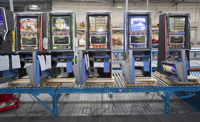 Ainsworth slot machines in progress wait on the assembly line at the Ainsworth factory at 5800 Rafael Rivera Way in Las Vegas on Friday, Sept. 23, 2016. Richard Brian/Las Vegas Review-Journal Foll ...