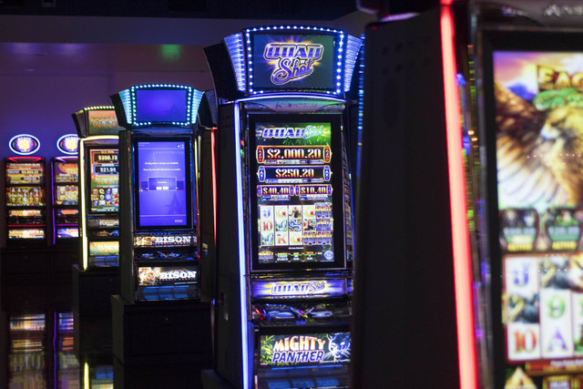 Ainsworth slot machines are displayed at their showroom located at 5800 Rafael Rivera Way in Las Vegas on Friday, Sept. 23, 2016. Richard Brian/Las Vegas Review-Journal Follow @vegasphotograph