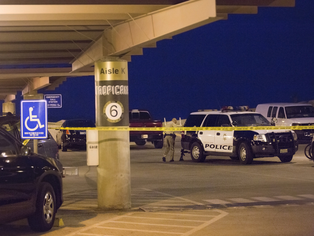 Las Vegas Metro investigates a domestic incident that left two people shot in the parking garage at McCarran International Airport on Monday, Sept. 19, 2016, in Las Vegas. Benjamin Hager/Las Vegas ...