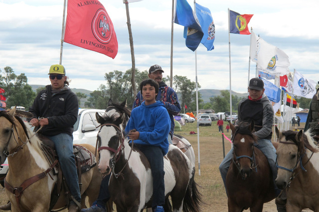 Horseback riders make their way through an encampment near North Dakota's Standing Rock Sioux reservation on Friday, Sept. 9, 2016. The Standing Rock Sioux tribe's attempt to halt construction of  ...
