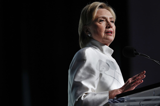 Democratic presidential candidate Hillary Clinton speaks at the Congressional Black Caucus Foundation's Phoenix Awards Dinner at the Washington Convention Center in Washington, Saturday, Sept. 17, ...