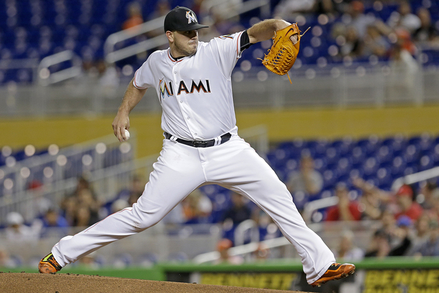 Miami Marlins' Jose Fernandez pitches against the Washington Nationals in the first inning of a baseball game, Tuesday, Sept. 20, 2016, in Miami. (Alan Diaz/AP)