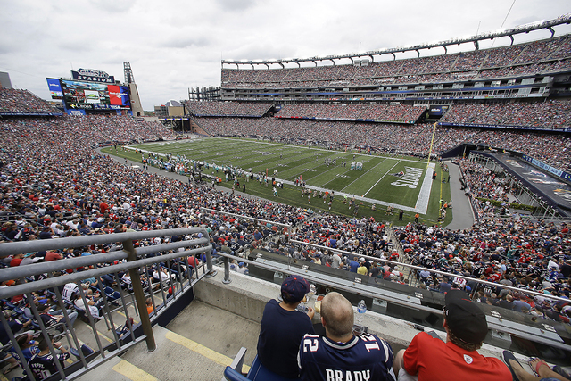 General overhead view of Gillette Stadium during the first half of an NFL football game between the Miami Dolphins and New England Patriots, Sunday, Sept. 18, 2016, in Foxborough, Mass. (Stew Miln ...
