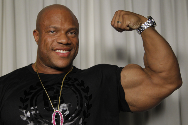 2012 Mr. Olympia Phil Heath poses for a portrait Wednesday, Sept. 18, 2013, in Los Angeles. (Nick Ut/AP)