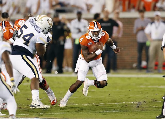 Clemson quarterback Deshaun Watson (4) runs against Georgia Tech in the first half of an NCAA college football game Thursday, Sept. 22, 2016, in Atlanta. (John Bazemore/AP)