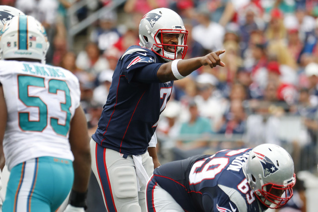 New England Patriots quarterback Jacoby Brissett against the Miami Dolphins during a NFL football game at Gillette Stadium in Foxborough, Mass. Sunday, Sept. 18, 2016. (Winslow Townson/AP Images f ...