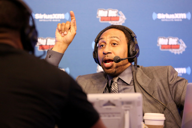 Sportscaster Stephen A. Smith is seen during an interview on Radio Row at the NFL Media Center during Super Bowl Week on Wednesday, February 3, 2106 in San Francisco, CA. (Gregory Payan/AP)