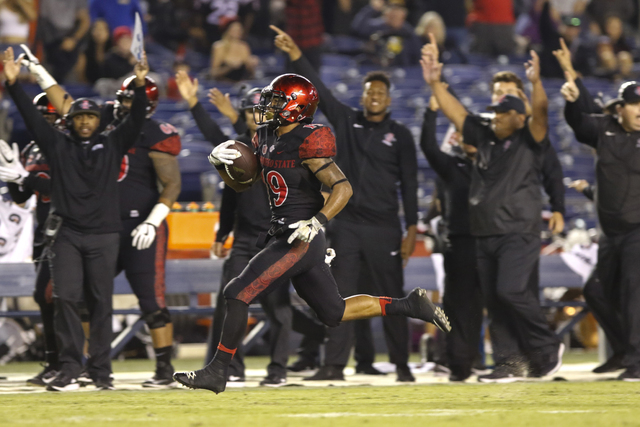 In this Sept. 10, 2016, file photo, the San Diego State sideline celebrates as running back Donnel Pumphrey runs on his way to a second half touchdown against California. (Don Boomer/AP File)