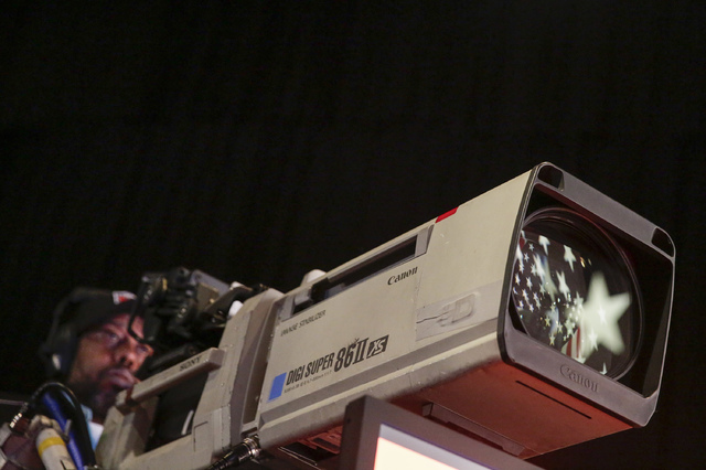 A network camera operator tests his position during a rehearsal for the presidential debate between Democratic presidential candidate Hillary Clinton and Republican presidential candidate Donald T ...