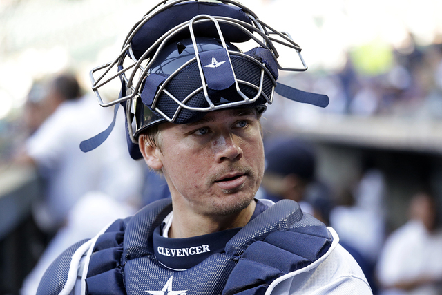 Seattle Mariners catcher Steve Clevenger looks out of the dugout before a baseball game against the Pittsburgh Pirates Wednesday, June 29, 2016, in Seattle. (Elaine Thompson/AP)