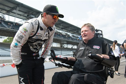 May 21, 2016: IndyCar driver Graham Rahal, left, talks with rival car owner Sam Schmidt during Indianapolis 500 qualifications at Indianapolis Motor Speedway. (Icon Sportswire via AP Images)