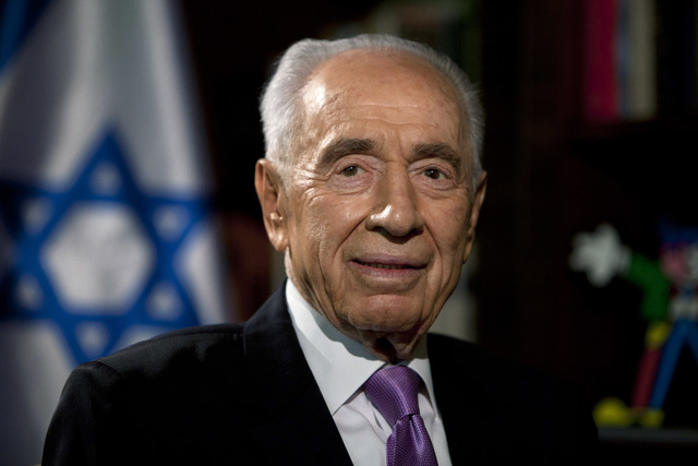 Israel's President Shimon Peres gives an interview to The Associated Press at the President's residence in Jerusalem in 2013. (Sebastian Scheiner/The Associated Press)