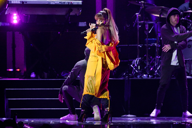 Ariana Grande performs at the 2016 iHeartRadio Music Festival - Day 2 held at T-Mobile Arena on Saturday, Sept. 24, 2016, in Las Vegas. (Photo by John Salangsang/Invision/AP)