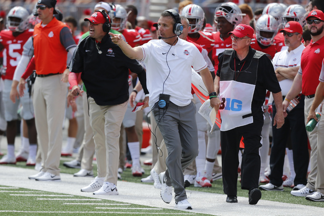 Ohio State head coach Urban Meyer on the sideline against Bowling Green during an NCAA college football game Saturday, Sept. 3, 2016, in Columbus, Ohio. (AP Photo/Jay LaPrete)