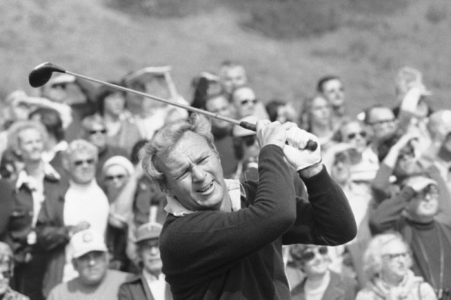 Arnold Palmer has the crowd with him as always as he prepares on Wednesday, Feb. 19, 1976 for the start of Glenn Cambell Los Angeles Open. (File/AP)