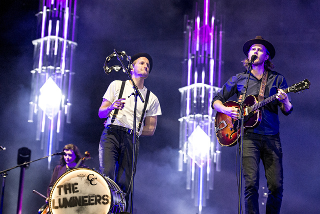 Jeremiah Caleb Fraites, from left, and Wesley Schultz of The Lumineers seen at the 2016 Festival d'ete de Quebec in downtown Quebec City on Friday, July 8, 2016, in Quebec City, Quebec, Canada. (P ...