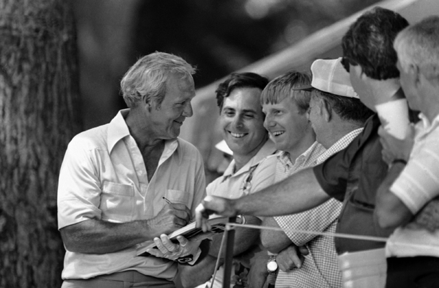 Some happy members of Arnie's Army collect autographs from veteran golfer Arnold Palmer on Wednesday, June 18, 1981 during practice round for the U.S. Open in Philadelphia. (File/AP)