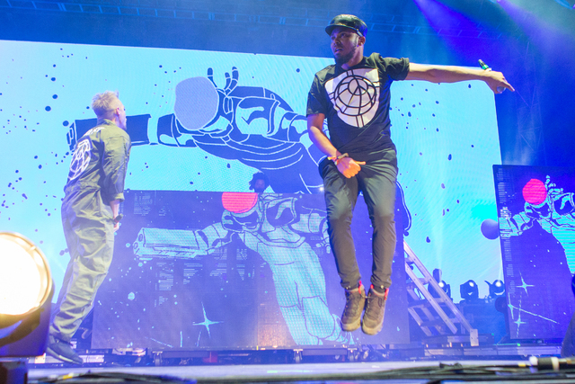Walshy Fire, right, and Diplo of Major Lazer perform during the Life is Beautiful festival on Friday, September 25, 2015 in Las Vegas. (Photo by Paul A. Hebert/Invision/AP)