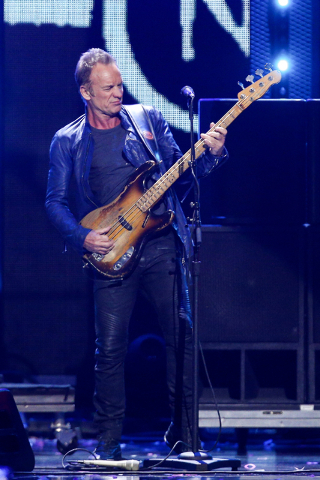 Sting performs at the 2016 iHeartRadio Music Festival - Day 2 held at T-Mobile Arena on Saturday, Sept. 24, 2016, in Las Vegas. (Photo by John Salangsang/Invision/AP)