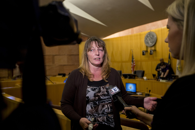 Clark County Commissioner Marilyn Kirkpatrick discusses her suggestion for Stephanie Smith to be appointed as a temporary member to the state Assembly, Friday, Sept. 30, 2016, in the commission ch ...