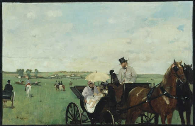 "Featured in Bellagio Gallery of Fine Arts' new ""Town and Country"" exhibit, Edgar Degas' ""At the Races in the Countryside"" (1869) shows a different side of the artist famed for his paintings of dan ..."