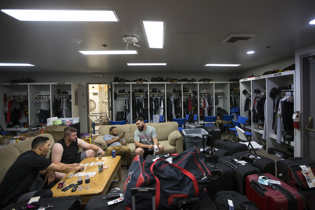 Salt Lake players wait inside the visitor locker room before the start of their game against the Las Vegas 51s at Cashman Field on Saturday, Aug. 27, 2016, in Las Vegas. (Erik Verduzco/Las Vegas R ...