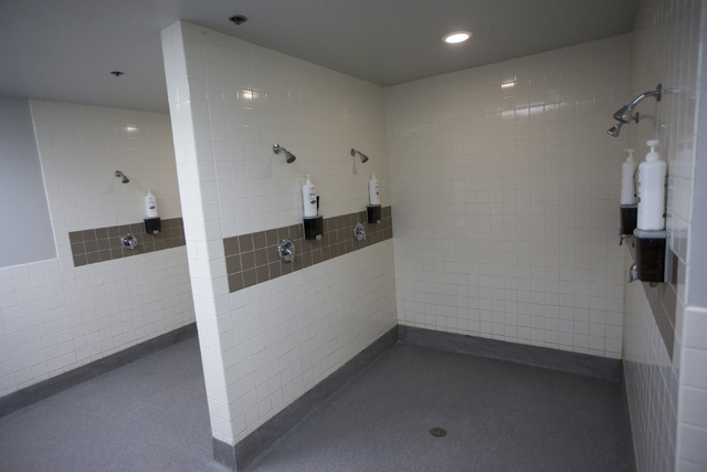 The Las Vegas 51s visitor locker room showers are seen before the start of the last home game of the season at Cashman Field on Saturday, Aug. 27, 2016, in Las Vegas. (Erik Verduzco/Las Vegas Revi ...