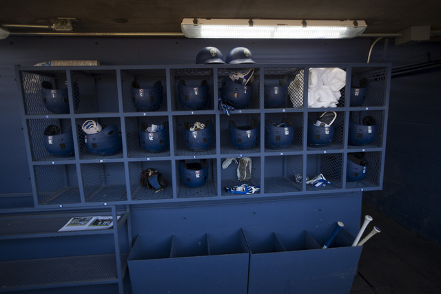 The Las Vegas 51s baseball dugout at Cashman Field is seen before the start of the last game of the season on Saturday, Aug. 27, 2016, in Las Vegas. (Erik Verduzco/Las Vegas Review-Journal) Follow ...