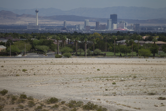 A proposed stadium site for the Las Vegas 51s near South Pavilion Center Drive and Griffith Peak Drive is seen on Wednesday, Aug. 31, 2016, in Las Vegas. (Erik Verduzco/Las Vegas Review-Journal) F ...