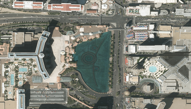 An aerial photograph taken earlier this year shows Bellagio and its famous fountain on the Las Vegas Strip. The Southern Nevada Water Authority uses aerial images, in part, to track changes in the ...