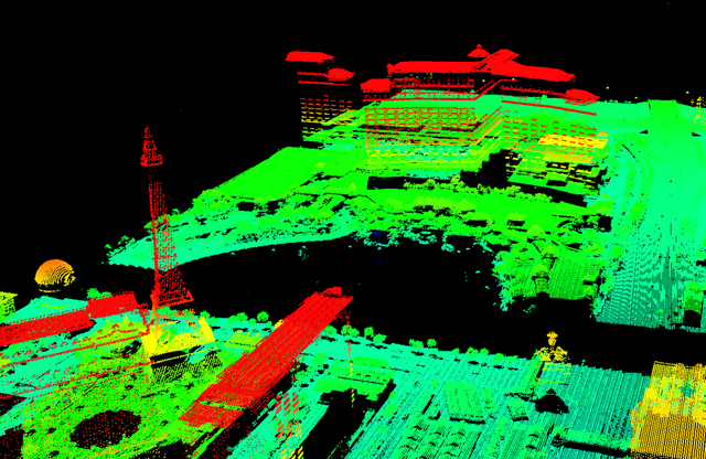 Laser-mapping, or LIDAR, data collected earlier this year by the Southern Nevada Water Authority and its partners show the elevation of different structures at Bellagio and Paris Las Vegas, includ ...