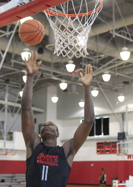 UNLV's Cheickna Dembele (11) goes for a rebound during team practice at the Mendenhall Center at UNLV in Las Vegas on Monday, Aug. 8, 2016. (Richard Brian/Las Vegas Review-Journal) Follow @vegasph ...