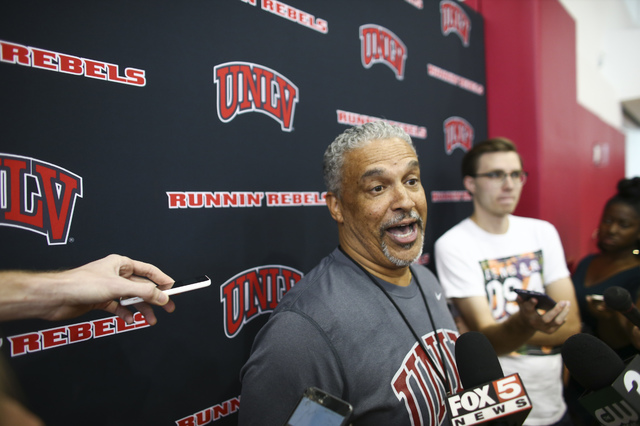 UNLV head coach Marvin Menzies is interviewed before basketball practice at Mendenhall Center at UNLV in Las Vegas on Friday, Sept. 30, 2016. Chase Stevens/Las Vegas Review-Journal Follow @cssteve ...