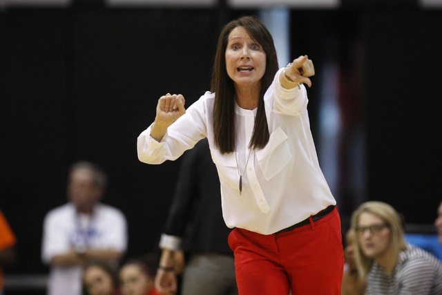 UNLV women's basketball head coach Kathy Olivier directs her team against Colorado State during their Mountain West Conference Game Saturday, Feb. 7, 2015, at the Cox Pavilion. Colorado State won  ...
