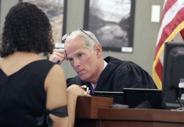 District Judge Douglas Herndon listens to Erika Ballou, a deputy public defender in Clark County, Thursday, Sept. 22, 2016, at the Regional Justice Center in Las Vegas. Bizuayehu Tesfaye/Las Vegas ...