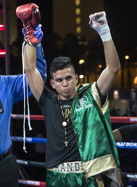 """Randy Moreno wins the fight against Fabian """"El Suavecito"""" Alaniz during the Knockout Night at the D Las Vegas on Friday, Sept. 30, 2016.  (Loren Townsley/Las Vegas Review-Journal) Follow @lorentow ..."""