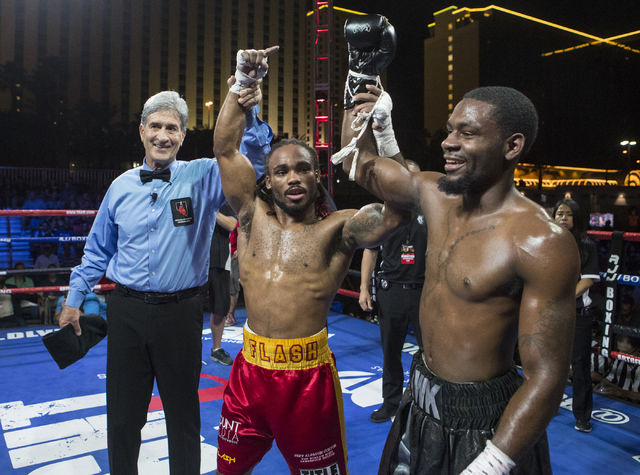 """Jeremy """"J-Flash"""" Nichols, left, celebrates his win with his opponent Marquis """"The Hawk"""" Hawthorn during the Knockout Night at the D Las Vegas on Friday, Sept. 30, 2016.  (Loren Townsley/Las Vegas  ..."""