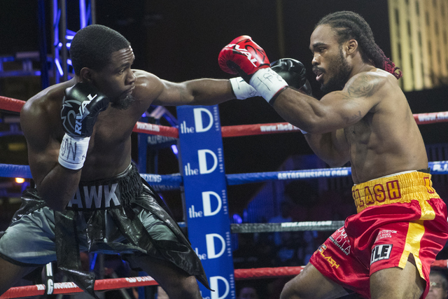 """Marquis """"The Hawk"""" Hawthorn, left, connects with Jeremy """"J-Flash"""" Nichols during the Knockout Night at the D Las Vegas on Friday, Sept. 30, 2016.  (Loren Townsley/Las Vegas Review-Journal) Follow  ..."""