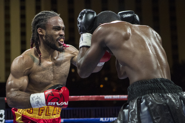 """Jeremy """"J-Flash"""" Nichols, left, connects with Marquis """"The Hawk"""" Hawthorn during the Knockout Night at the D Las Vegas on Friday, Sept. 30, 2016.  (Loren Townsley/Las Vegas Review-Journal) Follow  ..."""