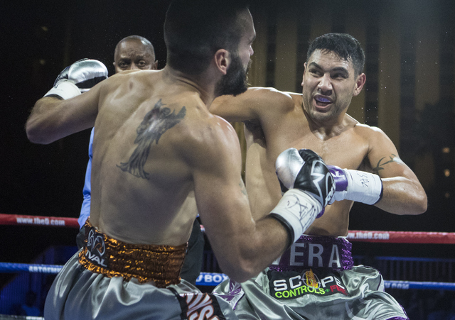 """John """"The Phenom"""" Vera, right, lands a strike against Milorad """"Micko"""" Zizic during the Knockout Night at the D Las Vegas on Friday, Sept. 30, 2016.  (Loren Townsley/Las Vegas Review-Journal) Follo ..."""